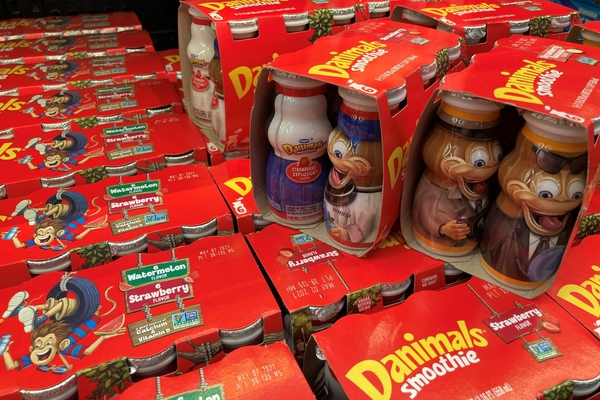 an image of Danimals yogurt in bright red packaging with cartoon animals on it