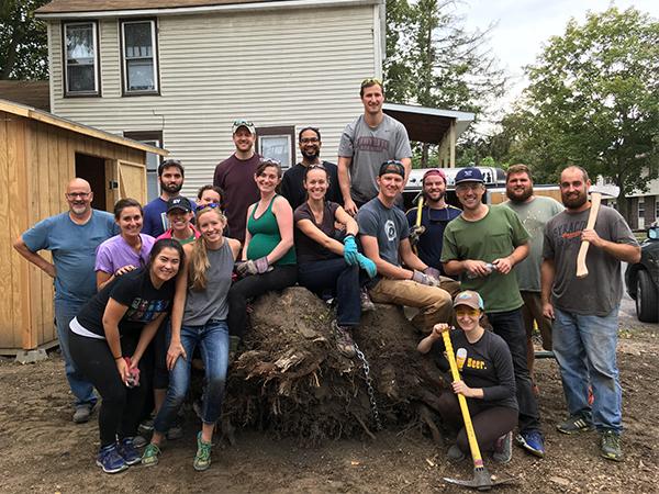students volunteering in the community