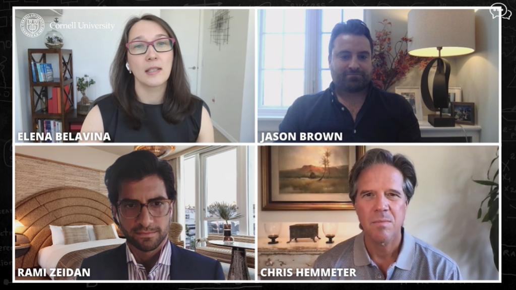 Closeup photo collage of the four panelists headshots. Clockwise from top left, Associate Professor Elena Belavina with panelists Jason Brown '05, Rami Zeidan, and Chris Hemmeter '86.