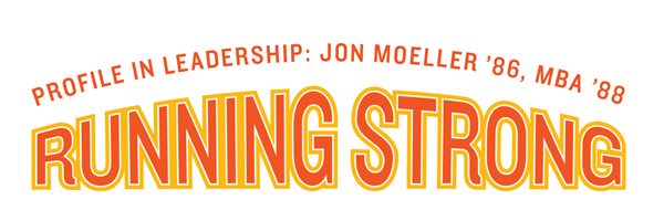 text on image that says profile in leadership on jon moeller '86, mba '88 Running Strong