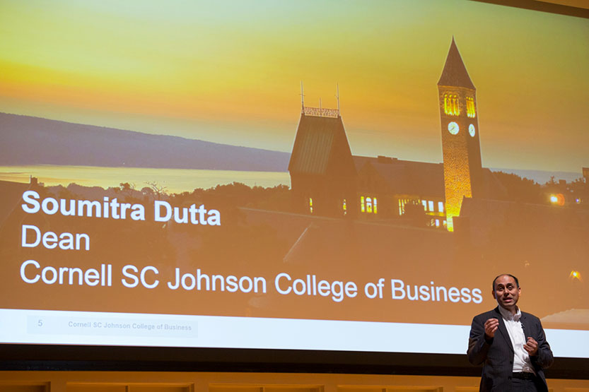 Soumitra Dutta, dean of the Cornell SC Johnson College of Business, addresses the incoming class at an Orientation event