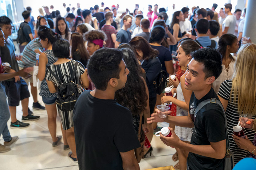 Students at an orientation event